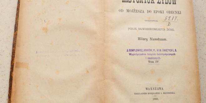 HISTORIA ŻYDÓW Hilary Nussbaum tom IV 1889