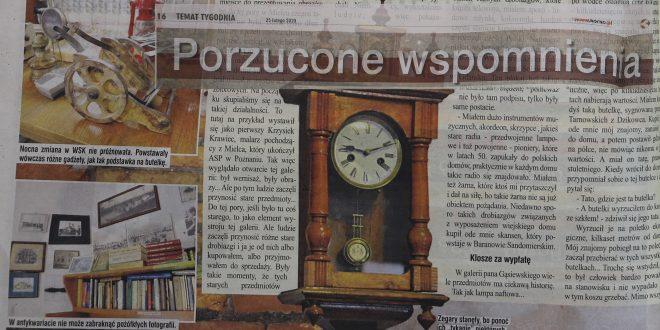 """Porzucone wspomnienia – artykuł w """"Korso"""" o mieleckim antykwariacie-galerii"""