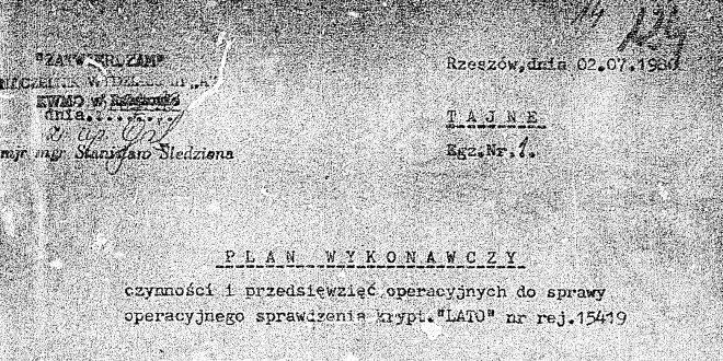 """2 lipca 1980 r. operacja SB krypt. """"LATO"""" wobec WSK """"PZL-Mielec"""""""